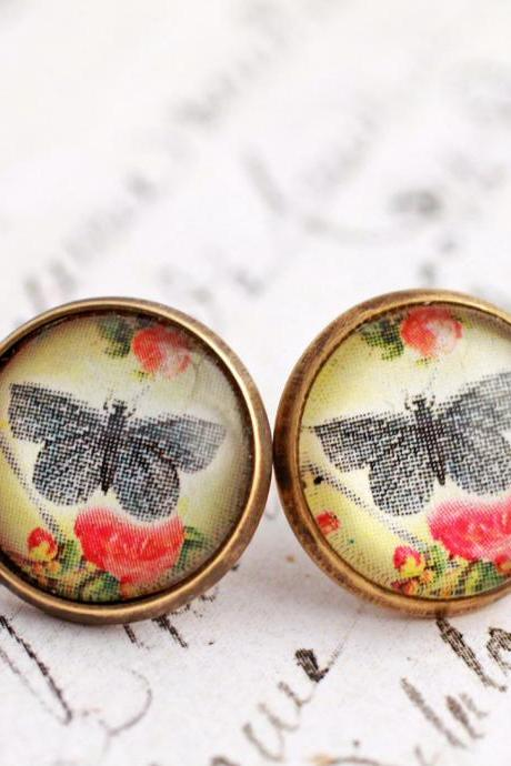 Butterfly and flower earrings, glass butterfly earrings, butterfly stud earrings, glass dome earrings