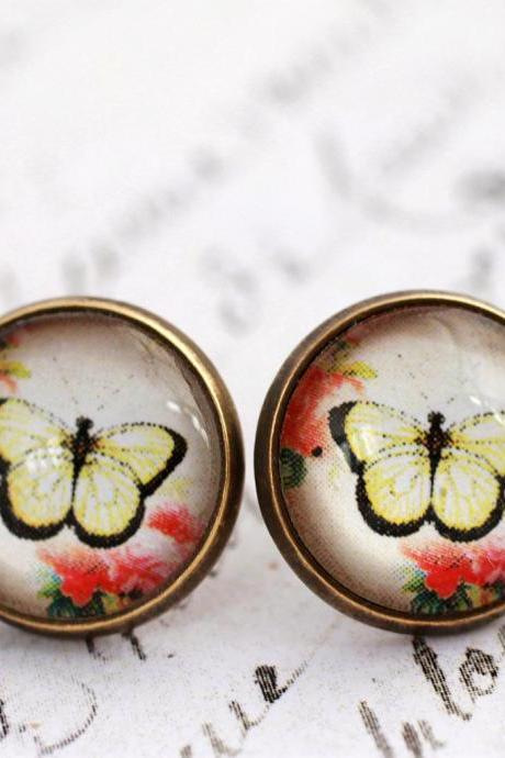 Yellow butterfly earrings, stud earrings, glass dome earrings, butterfly and flower, yellow and pink, romantic, spring