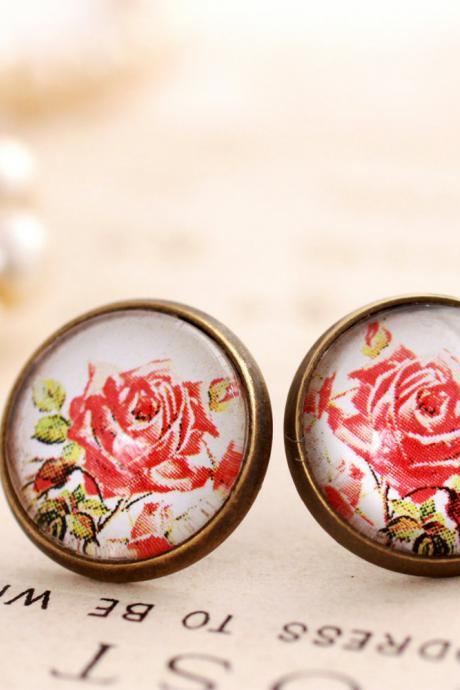 Red rose earrings, glass rose stud earrings, glass dome earrings, romantic rose earrings, nickel free earrings, antique style earrings