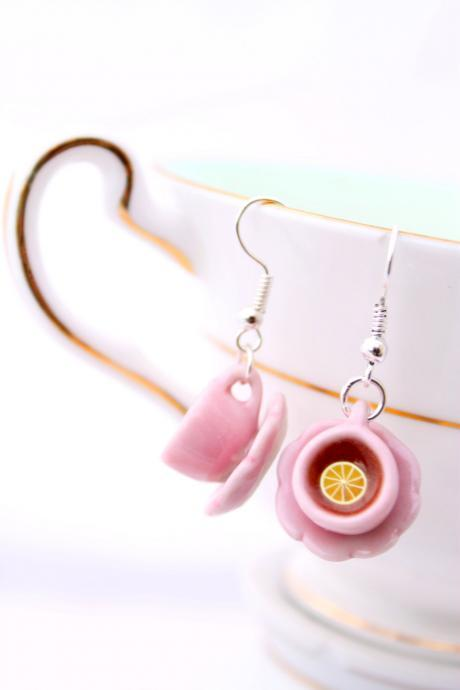 Pink teacup earrings, tiny teacup earrings, Alice in Wonderland earrings, miniature food jewelry