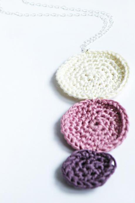 Sterling Silver Cottage Chic Necklace Crochet Cotton Spring Rose Purple White by SteamyLab