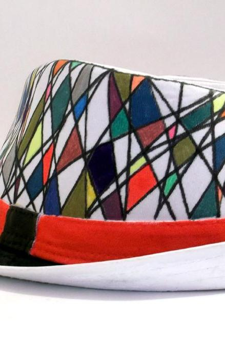 Hand painted hat - Harlequin