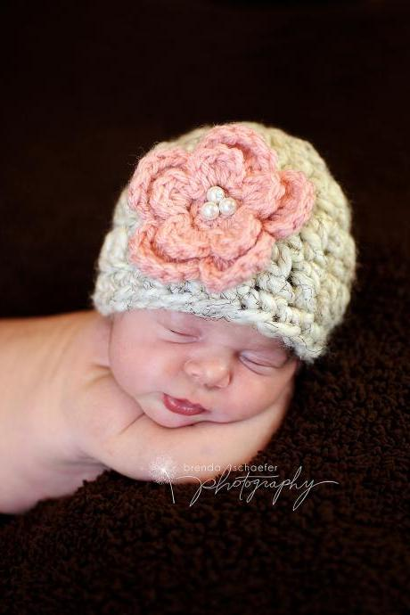 Newborn girl flower beanie in cream and pink