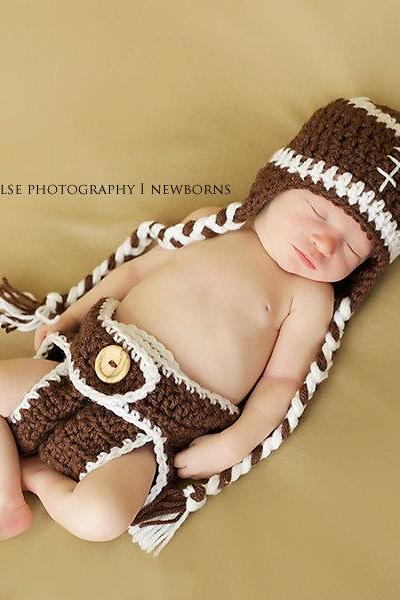 Crochet football hat and diaper cover set in newborn size