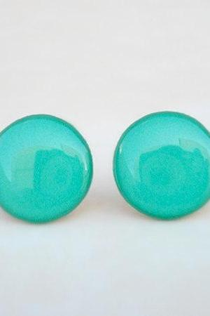 Turquoise Earring Studs, Turquoise stud earring, Monochrome Earrings, Solid Posts, Summer Spring Wedding Earrings