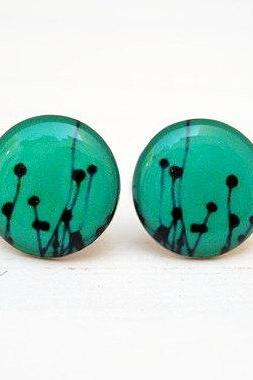 Teal Dandelion stud earrings,Woodland, Back to school