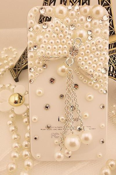 Pearl iPhone 4 Case with beautiful pearl bow charm crystal iphone 4 case, bling iphone case for girls