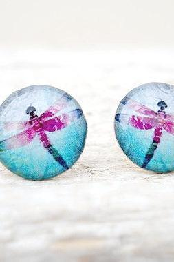Dragonfly Earring Studs, Blue Purple, Spring Earrings, Medium Studs