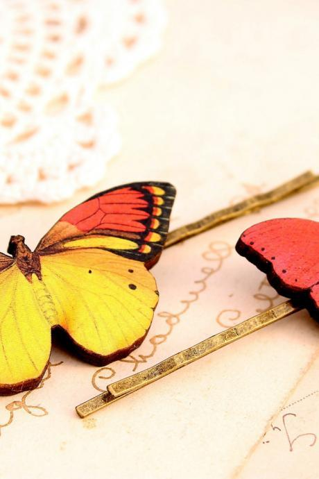 Butterfly hair clips, butterfly hair accessories, woodland wedding, butterfly hair piece, butterfly jewelry
