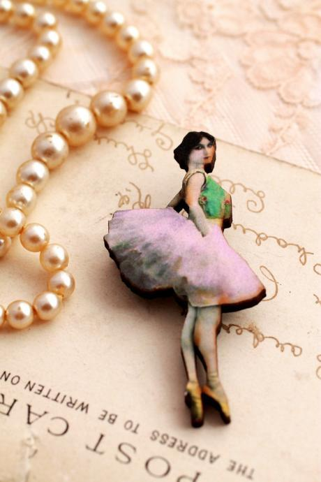 Little Ballerina Wooden brooch