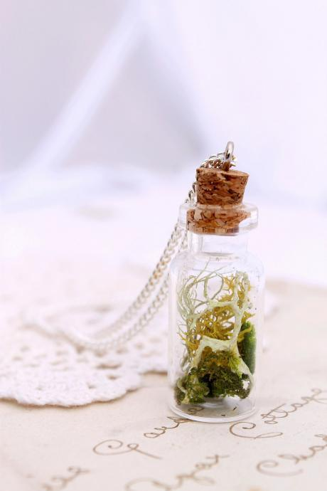 Botanical specimen necklace, botanical jewelry, miniature terrarium, woodland wedding, Irish jewelry