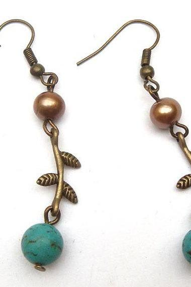 Antiqued Brass Leaf Pearl Turquoise Earrings