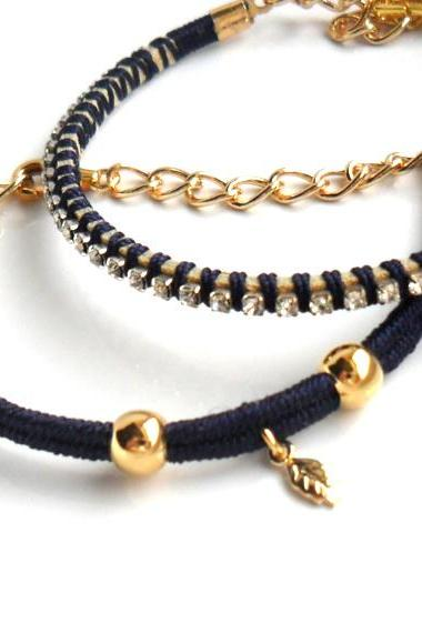 Friendship Bracelets Navy blue Hand woven in silk crystal chain gold filled beads Set of two Bridesmaid Wedding