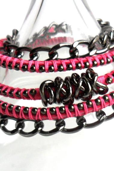 Leather wrap Hot Pink Gunmetal chain Trendy Spring Summer 2013