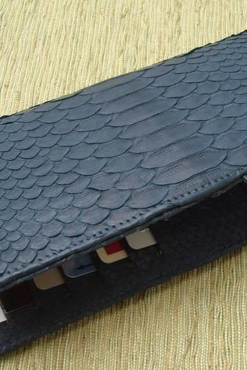 Snakeskin Leather Wallet. Unisex Leather Wallet. Navy Blue Men Wallet.