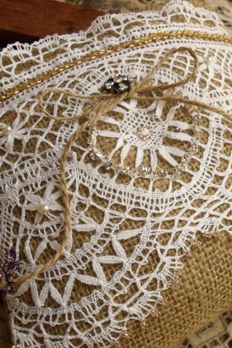 Bead Wedding Ring Bearer Pillow Unique Antique Lace white~SHABBY~STUNNING~Burlap