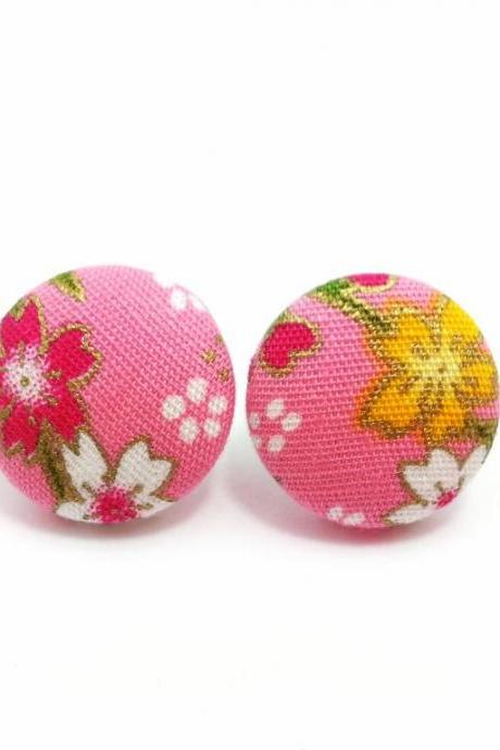 Medium Button earrings/Fabric Button Studs/Clip On Earrings -Japan kimono sakura On Pink