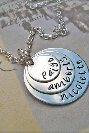 Custom Three-Disc Personalized Pendant - A Mother's LOVE - Necklace