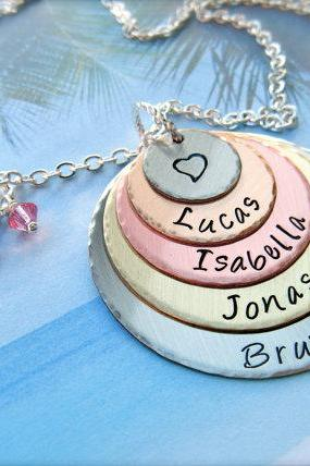 Five Disc Personalized Pendant Necklace - For Mommy
