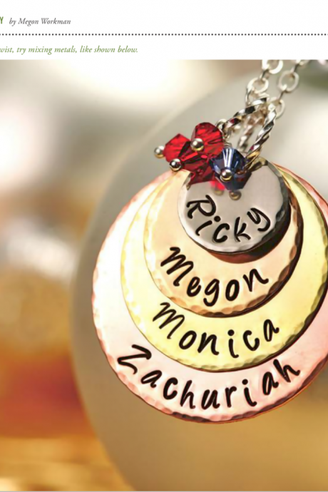 Mother's Day - Gift For HER - Quad-Color Personalized Pendant Necklace - For MOMMY - as seen in Bead Trends Magazine