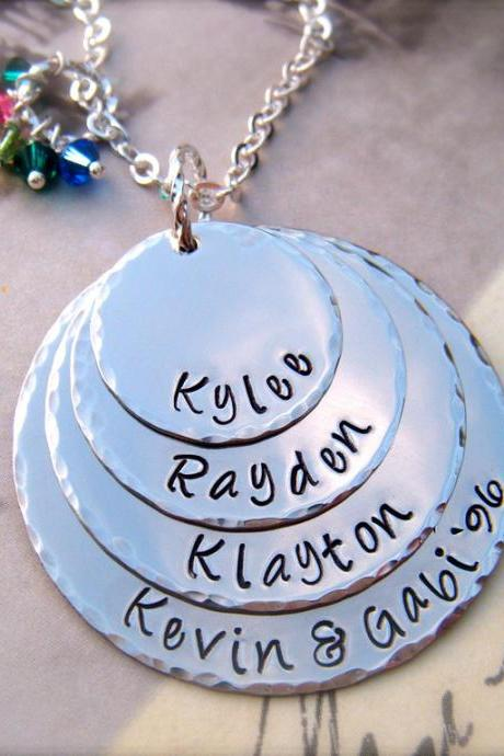 Mother's Day - EXCLUSIVE - Four Disc Personalized Pendant Necklace - For MOMMY - as Featured in Bead Trend Magazine