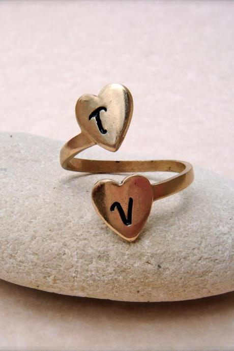 Personalized Brass Initial Ring - Two Hearts as One - Adjustable Hand Stamped Two Heart Ring