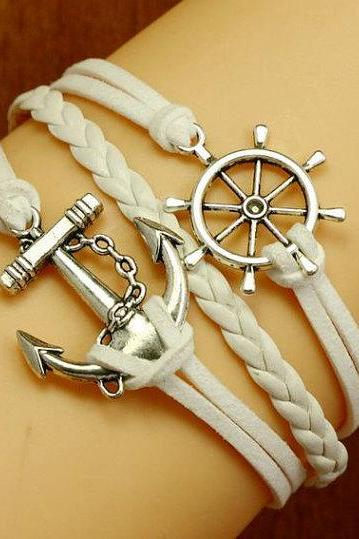 ON SALE anchor bracelets,Helm bracelets ,White woven bracelest. High fashion bracelets