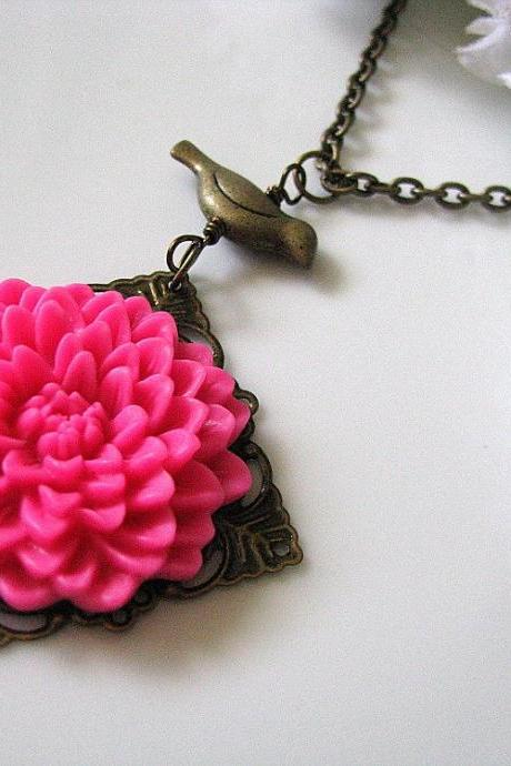 Sweet Raspberry Chrysanthemum Chrissy Flower with Bird Necklace