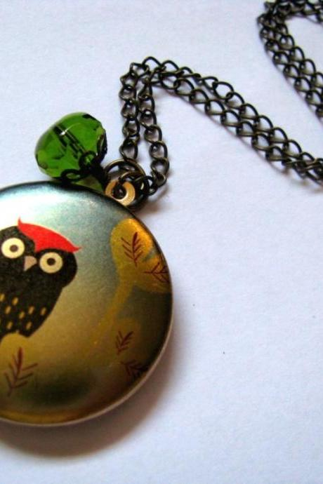 The Red Top Owl Altered Art Locket Necklace