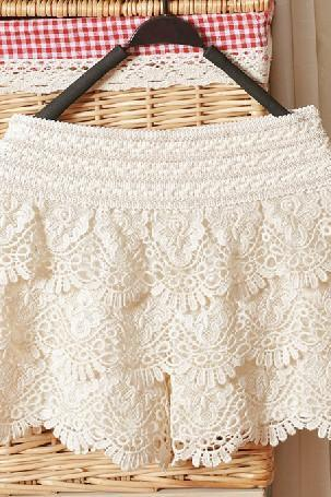 Beige Hollow Lace Shorts