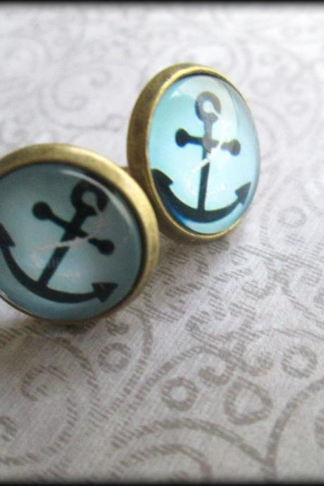 Anchor earrings.Anchor jewelry.Best friend.BFF.Love.Anchor.Nautical.Blue.