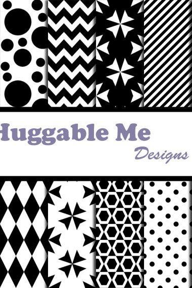 Digital Scrapbooking Paper Black and White Digital Scrapbooking Paper Wedding Invitation Cards Chevron Polka Dots 12x12 - HMD00054