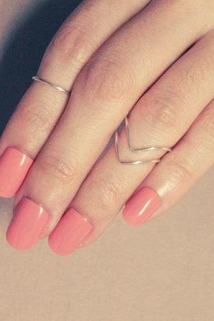 3set Sterling Silver Knuckle Rings: round ring and chevron ring, adjustable ringFrom RomanticSilver
