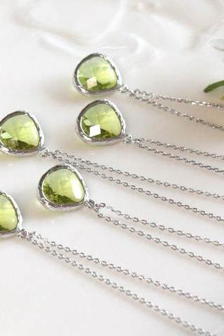 Bridesmaid gifts - Set of 5 - Peridot crystal pendant necklace, Olive Green, stone in bezel