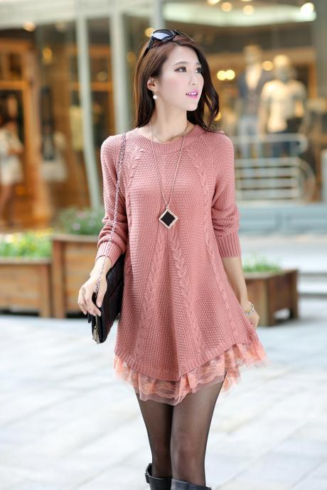 Round Neck Long Sleeve Lace Side Women Sweater