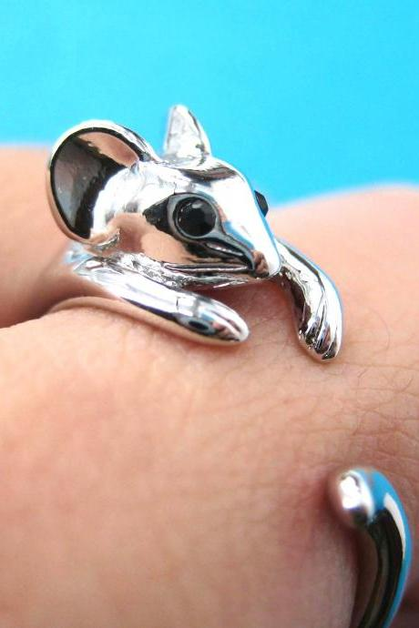 Realistic Mouse Animal Wrap Around Hug Ring in SHINY Silver - Sizes 4 to 8.5