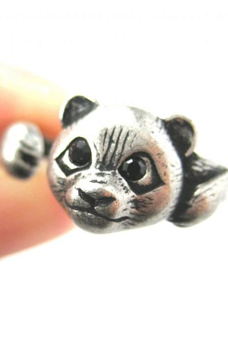 Realistic Panda Bear Animal Wrap Around Hug Ring in Silver Sizes 4 to 8.5