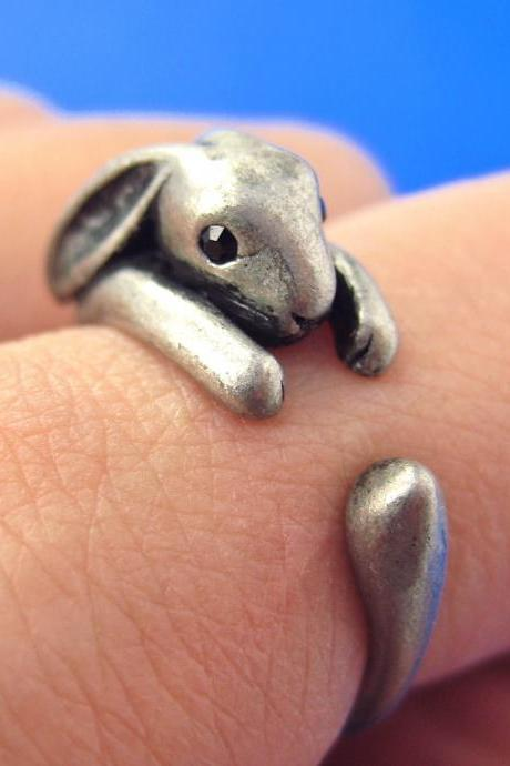 Bunny Rabbit Animal Wrap Around Hug Ring in Silver - Sizes 4 to 9