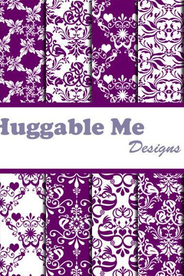 Purple Digital Scrapbooking Paper Purple Damask Paper for Scrapbook Wedding Invitation Cards 12x12 - HMD00038