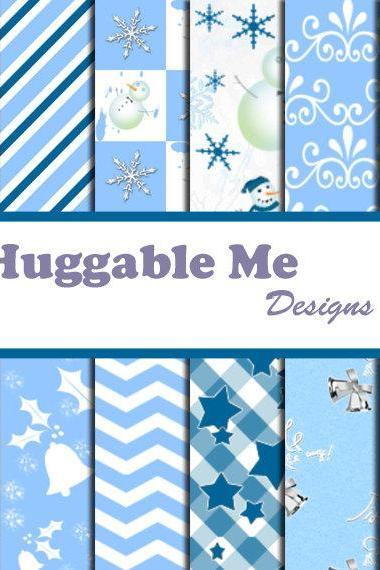 Digital Scrapbook Paper White and Blue Christmas Holiday Digital Paper for Scrapbook Invitation Cards Gift Wrapping 12x12 - HMD00022