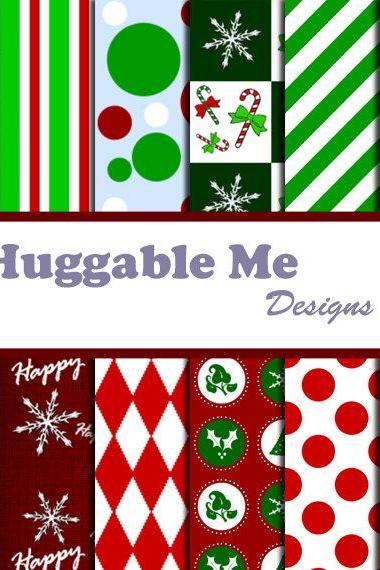 Digital Scrapbook Paper Christmas Holiday Digital Paper for Scrapbook Invitation Cards Gift Wrapping 12x12 - HMD00017