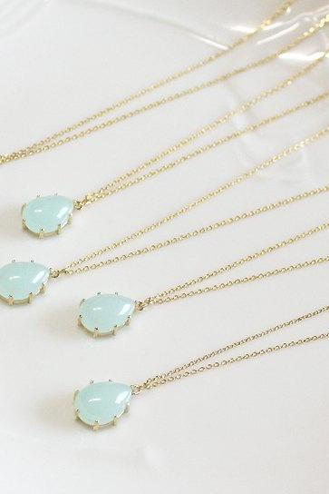 Bridesmaid gifts - Set of 5 - Mint drop pendant necklaceFrom ElliesButton