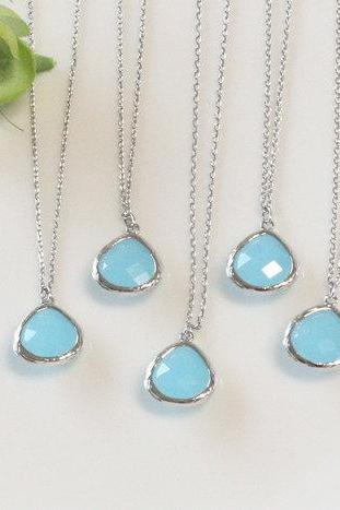 Bridesmaid gifts - Set of 5 - Light blue pendant necklace