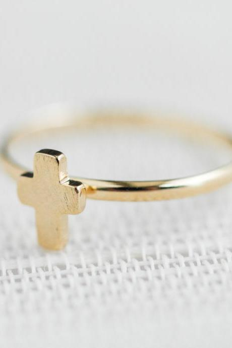 Tiny cross adjustable ring in gold ,adjustable ring,everyday jewelry, gift ring