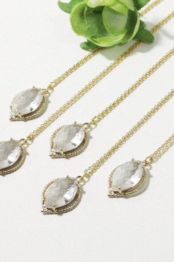 Bridesmaid gifts - Set of 5 -Crystal pendant necklace, Gorgeous Crystal Drop ,stone in leaf bezelFrom ElliesButton