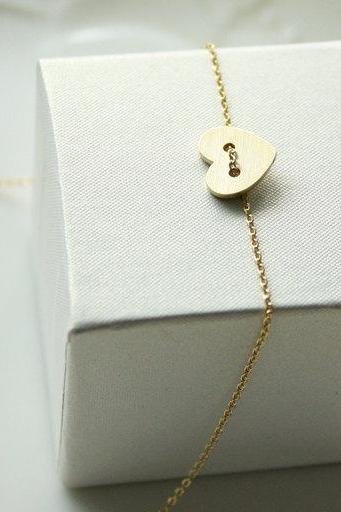 Bridesmaid gifts - Set of 5 - Heart button necklace in goldFrom ElliesButton