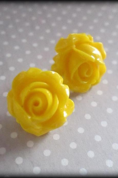 Sunshine yellow rose post earrings.