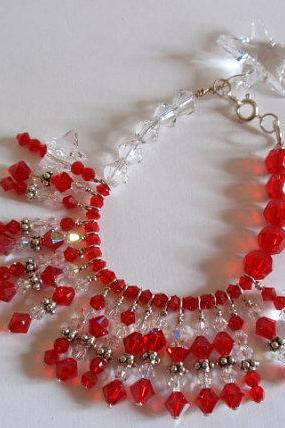 Red and White Swarovski Crystal Star Bracelet