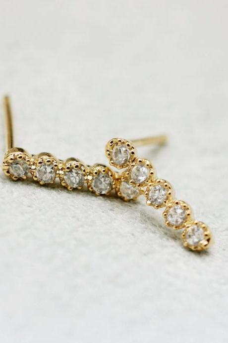 Long Bar with cubic zirconia detail stud earrings in Gold