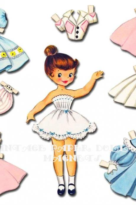 Vintage Paper Doll Magnets in tin